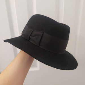 Vintage German Fedora Hat Black Bow Wide Brim